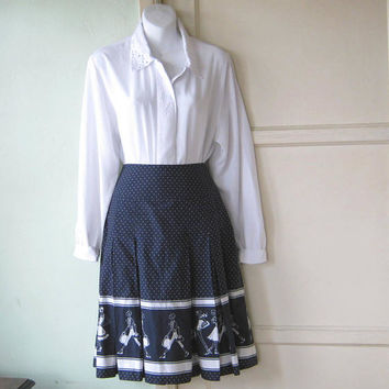 Adorable White/Navy Blue Print Pleated Full Skirt~Women's 8/Medium~Fashionista Graphic Print Navy Knee Length Cotton Skirt; Free Ship/U.S.