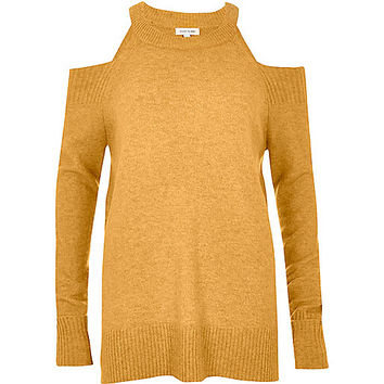 Dark yellow knit cold shoulder sweater - knitted tops - knitwear - women