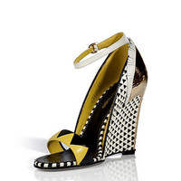 Sergio Rossi - White/Black Woven Leather Wedges with Metal Heel
