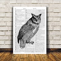 Dictionary print Owl poster Bird art Modern decor RTA18