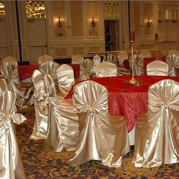 Hot sale 1pcs Burgundy Self Tie Satin Chair Cover Wedding Banquet  Party Decoration Product Supplies110cm*140cm, Free shipping