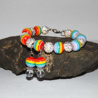 Gay Pride, LGBT Bracelet, Everyday Jewelry, Handmade gift for her, Statement Jewelry, Rainbow Beaded Bracelet, Colorful Accessories