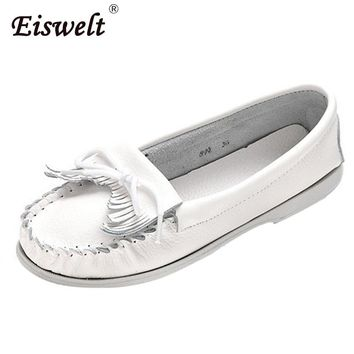 EISWELT 2017 Women Shoes Women Flats Woman Tassel Fringe Ballet Flats Loafers Moccasin White Nurse Shoes Female Shoes#ZS13