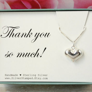 Thank you gift sterling silver heart necklace box gift for best friend, shower hostess, bridesmaid, maid of honor, thank you so much
