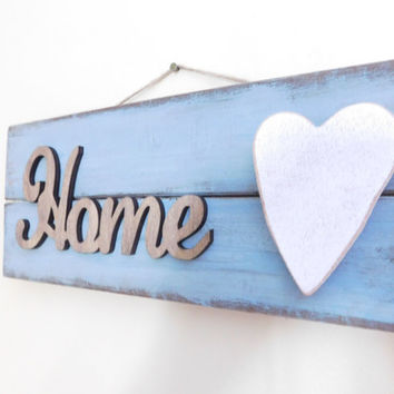 Reclaimed Wood Home Sign - Blue Distressed Sign - Home Decor - Signs