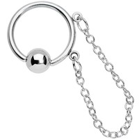 Stainless Steel 14 Gauge 13mm BCR with Chain Dangle