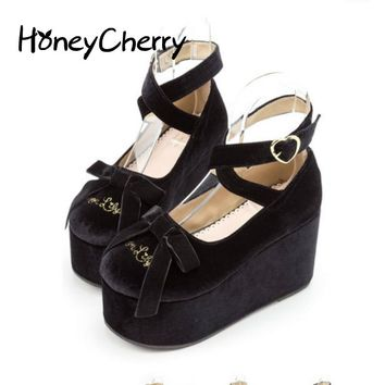 The Japanese Dream Looking Shoes Shallow Mouth Round Cross Straps Muffin Bottom Bow Soft Sister Doll Shoes Black Shoes lolita