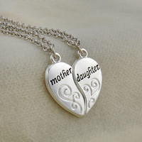 2PC Silver Plated Mother Daughter Necklace Silver Heart Love Mom Necklaces & Pendants For Women Jewelry