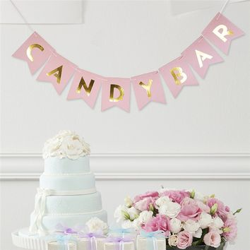Candy Bar Fishtail String Flag Wedding Party Decorative Banner Birthday Decoration Event Supplies