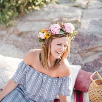 Daisy Chain Off the Shoulder Dress