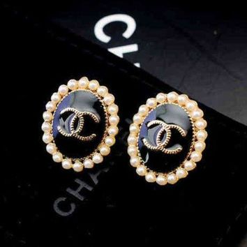 PEAPYV2 Chanel Women Fashion CC Logo Pearl Stud Earring Jewelry