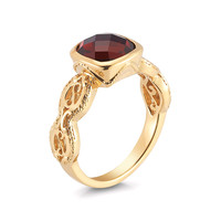 DeLatori Women's Garnet Cushion Ring - Gold - Size 6.75