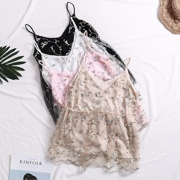 New Summer Women Sweet Mesh Embroidery Beading Loose Low-Cut Double-deck Camisole Ladies Spaghetti Strap Crop Top Free Shipping