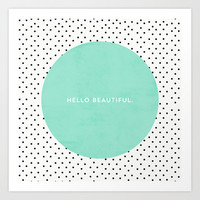 MINT HELLO BEAUTIFUL - POLKA DOTS Art Print by Allyson Johnson