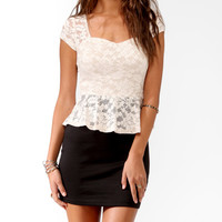 Duo-Toned Lace Peplum Dress
