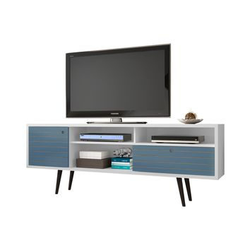 "70.86"" Mid Century - Modern TV Stand w/ 4 Shelving Spaces & 1 Drawer -White and Aqua Blue"