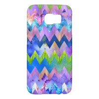 Trendy Artsy Watercolor Painting Chevron Pattern Samsung Galaxy S6 Cases
