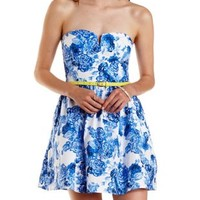 Blue Combo Belted Floral Strapless Skater Dress by Charlotte Russe