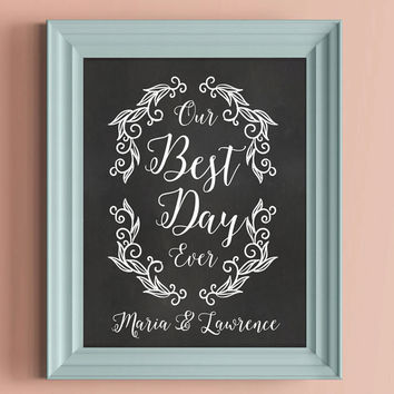 Our Best Day Ever Chalkboard Photo Sign