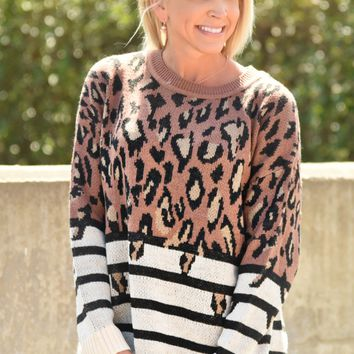 Let's Get Out Sweater - Leopard