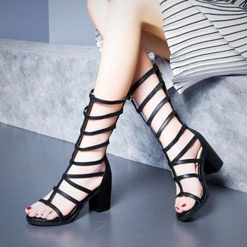 Gladiator High Heels Pumps Summer Hollow Out Mid-Calf Roman Sandal Boots Shoes