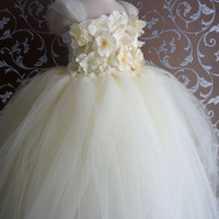 Flower girl dress Ivory tutu dress, flower top, baby tutu dress, toddler tutu dress