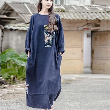 Johnature Women Maxi Dress Blue Print Floral Bat Sleeve 2016 Fall Winter New Loose Vintage Casual Robes Big Size Cotton Dress