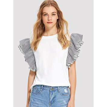Flutter Sleeve Striped Tunic Tee