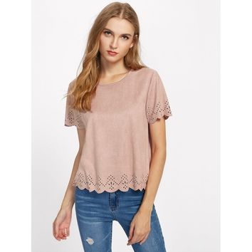 Scalloped Laser Cut Suede Top Pink