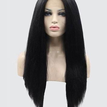 Long Black Synthetic Lace Front Wig