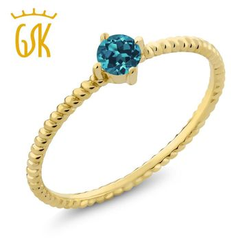 10K Yellow Gold 0.20 Ct Round London Blue Topaz Engagement Solitaire Ring
