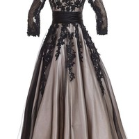 Sunvary Champagne and Black Long Sleeves Mother of Bride Dresses Prom Gowns