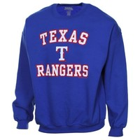 Stitches Texas Rangers Warning Track Crewneck Sweatshirt - Royal Blue