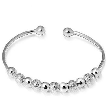 Silver Plated Open Hand Cuff Bangle 9 Lucky Beads Bracelet