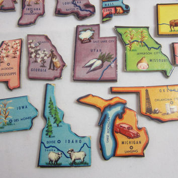Vintage USA Map Puzzle Pieces 44 States 37 Pieces , United States Map , Vintage Puzzle , 50's Map Game , Craft Supply