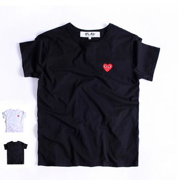 PLAY Little red heart sets round collar couples short sleeve T-shirt-1