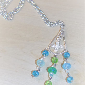 Silver / Blue / Green Cross Chandelier Bead Necklace - Amulet / Pendant