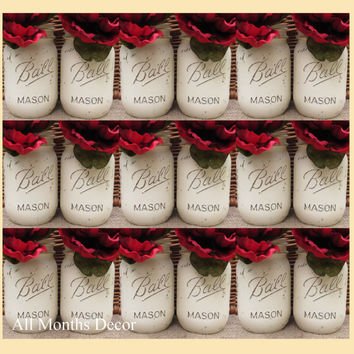 Set of 20 Painted Mason Jars, Pint or Quart, Cream White, Distressed Home Wedding Bridal Vase, Baby Shower Decor, Rustic Shabby Chic Gift