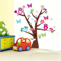 Owl Butterfly Tree Wall Decal Stickers by Baby in Motion