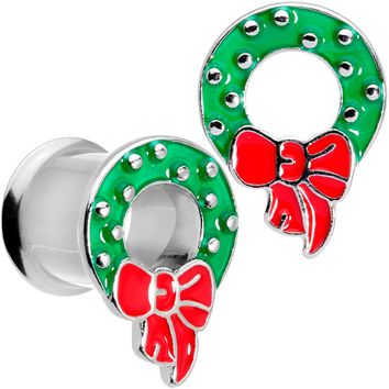 00 Gauge Christmas Wreath Double Flare Tunnel Plug Set