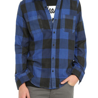 RUDE Black & Blue Plaid Woven