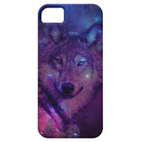 Pink Blue Purple Nebula Galaxy Space Wolf iPhone 5 Cover