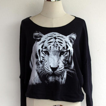 Tiger Sweatshirt - Tiger Animal Screenprint Pullover Oversize Long Sleeve Bat Wing Style Half Body In Navy Blue.