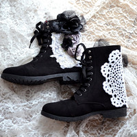 Combat boots, Embellished floral boots, 90's grunge lace up boots, Street style, romantic shoes, altered shoes, true rebel clothing,