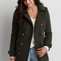 Military Wool Peacoat , Olive | American Eagle Outfitters