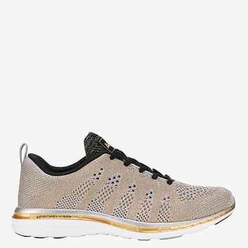 APL TechLoom Performance Sneaker: Silver/Gold at INTERMIX | Shop Now | Shop IntermixOnline.com