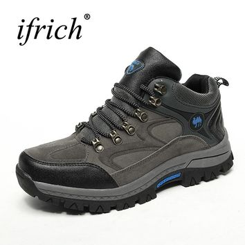 2017 New Winter Mens Hiking Shoes Outdoor Boots Ruber Climbing Shoes Fur Warm Outdoor Trainers Lace Up Travel Mountain Sneakers