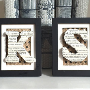 Small framed wooden letter - Book letter from vintage books - Book Lover Gift - Book Art - Framed Initial - Decorative wood letter