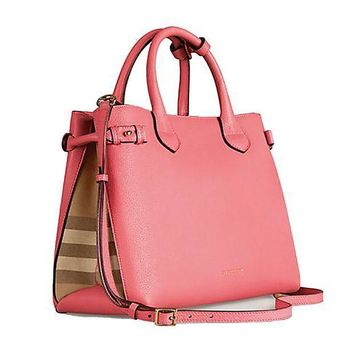 DCCKON Tote Bag Handbag Authentic Burberry Medium Banner in Leather and House Check MAUVE PINK Item 39818951