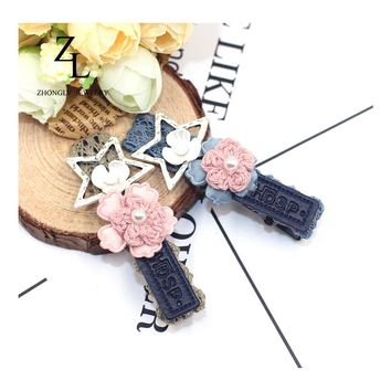 Elegant shell flowers hair accessories Duckbill clip Quality Floral hair colors PU leather Barrettes statement Flower Barrettes